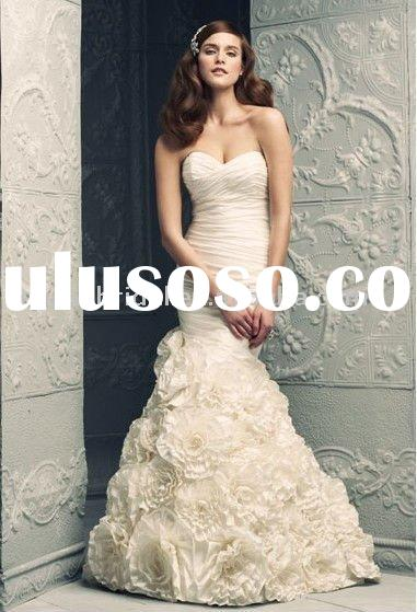 Style RZ-wd248 sweetheart handmade flowers taffeta black and white mermaid wedding dresses