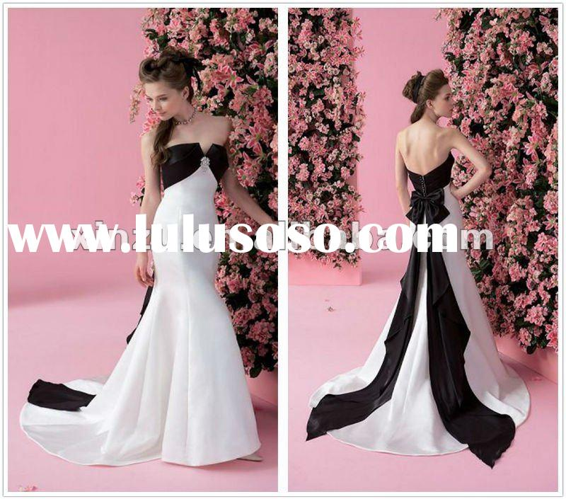 Sweetheart Strapless Mermaid Black and White Wedding Dresses with Bowknot on Back--WD1028