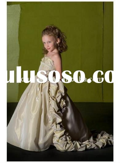 Taffeta Ball Gown With Floral Apliques On Skirt gray flower girl dress,tiered flower girls dresses f