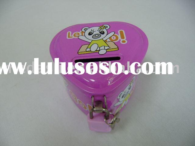 Triangular tinplate saving bank / coin box / money can with padlock and key (#KK9078) size:80 mm x 7