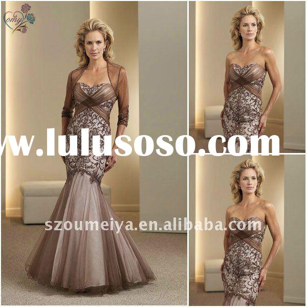 Trumpet Lace Mother of the Bride Dresses with Sleeves