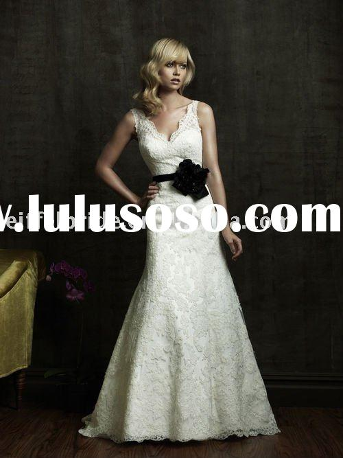 WB005 V neck black belt ivory lace bridal wedding dress