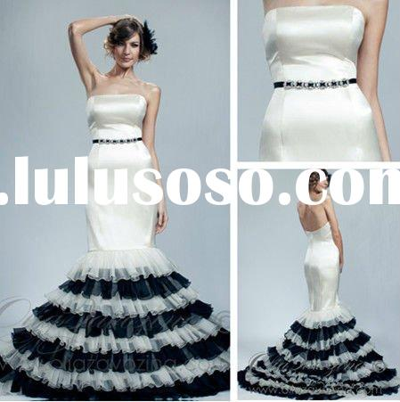 WD5671 Strapless Mermaid Organza Black And White Wedding Dresses 2012