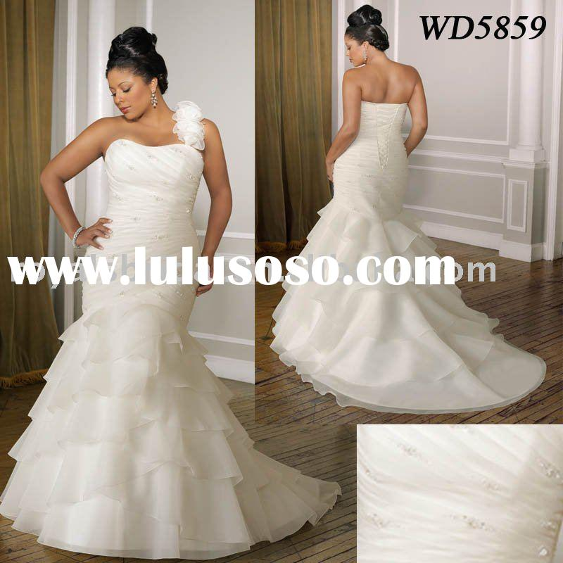 WD5859 2011 Latest Fashion Off Shoulder Beaded Plus Size Wedding Dress
