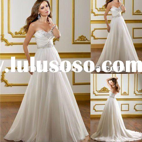 White Modernest Design Off-Shoulder Chiffon Floor-Length Wedding Dress for Bridals 2012