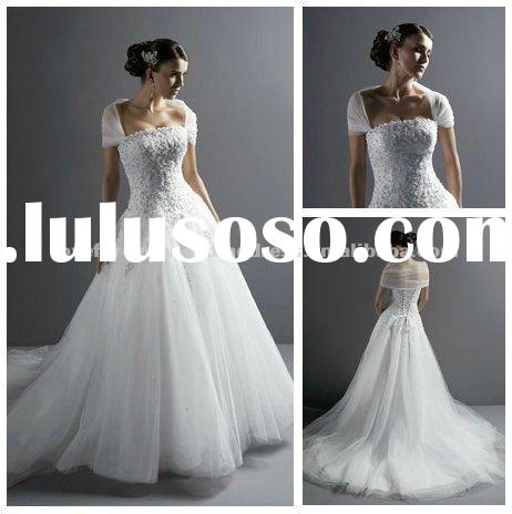 White Tulle Lace Ball Gown Wedding Dresses For Sale