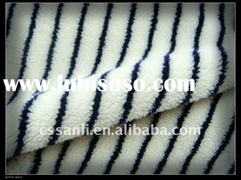 White red black striped polyester velboa knitted fabric for babies' blanket.