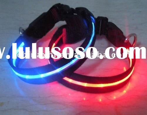Wholesale - LED light dog collar light with safety collar leather dog leads dog leash training