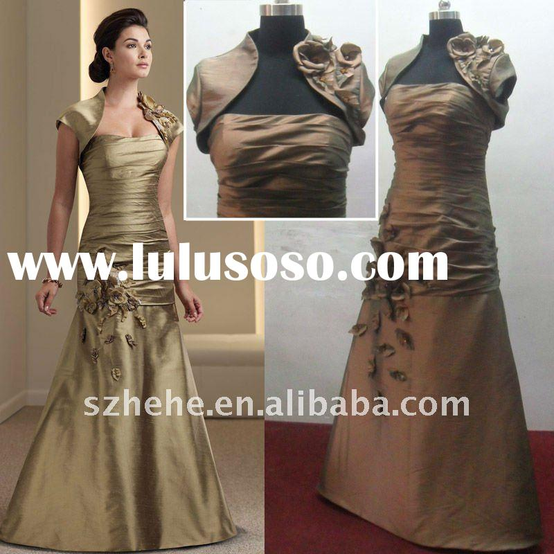 Wholesale price Real Sample taffeta short sleeve mother of the bride jacket dress