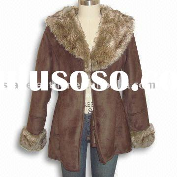 Women's Pig Suede Leather Coat with Fur Collar