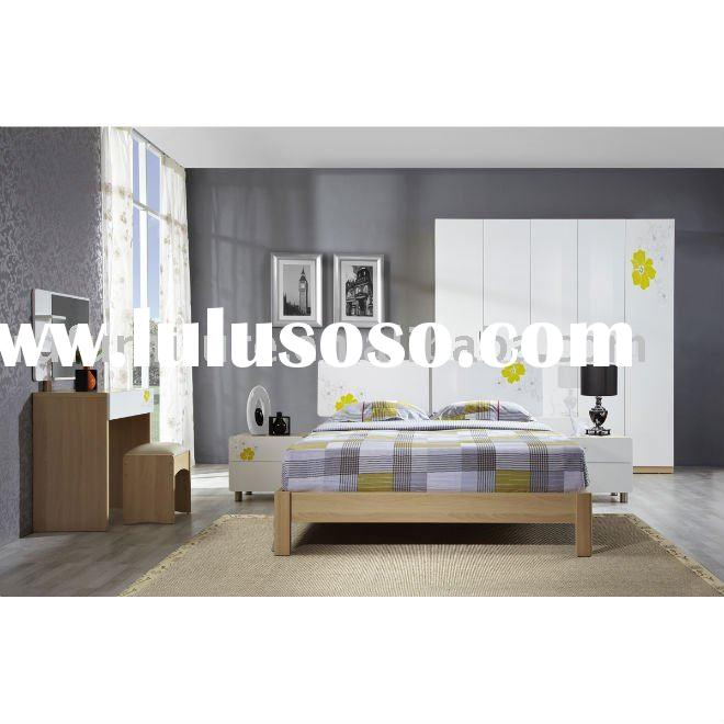 #BS008 modern bedroom furniture set in white beech with flower pattern