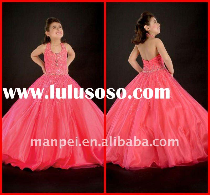 (H-26)Custom Made Halter Beaded Organza Red Little Ball Gown For Wedding Cinderella Flower Girl Dres