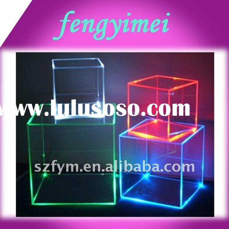 acrylic LED display box/acrylic retail light cube/plexiglass exhibition stand showcase FYM-707