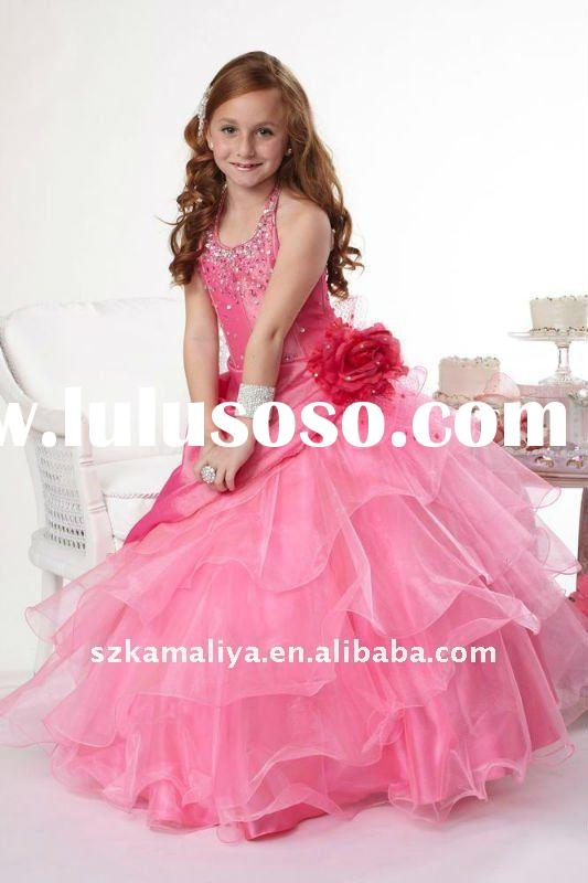 attractive junior puffy red layered ball gown flower girl's pageant dress