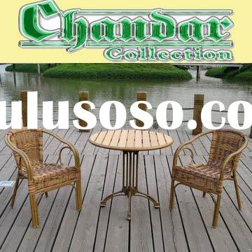 bamboo like aluminum table and chair patio furniture