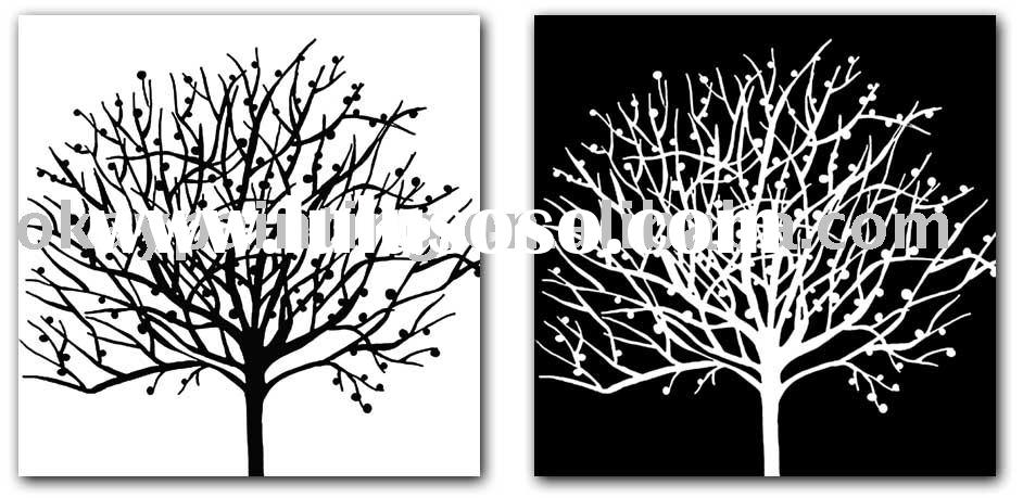 black and white tree canvas painting decoration