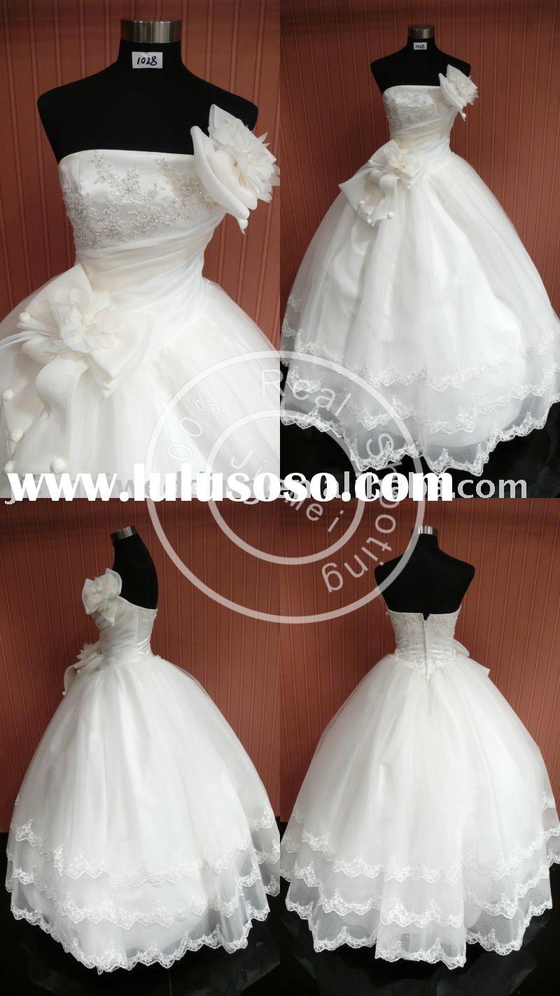 bridal wedding dress lace ribbon ball gown strapless