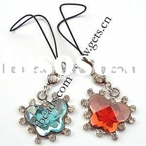 cell phone decoration cell phone chain (rhinestone beads & acrylic drop)