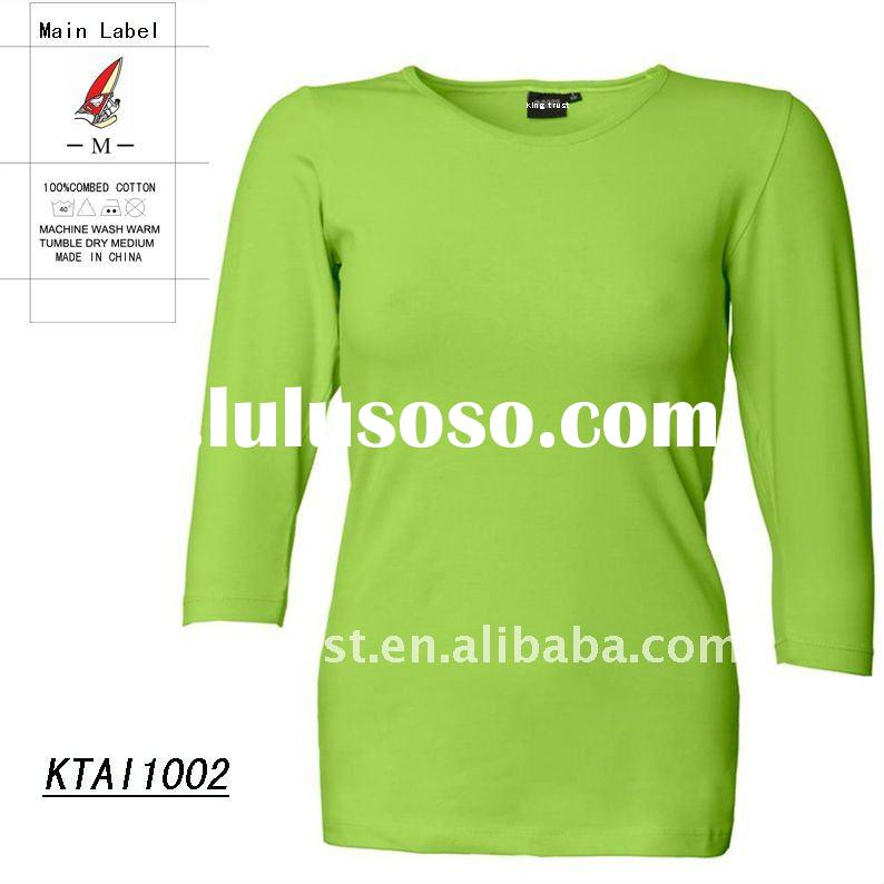 cotton spandex t shirt with 3/4 long sleeve new color for ladies