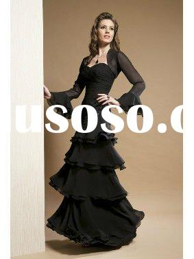elegant black long sleeve chiffon evening dress M34