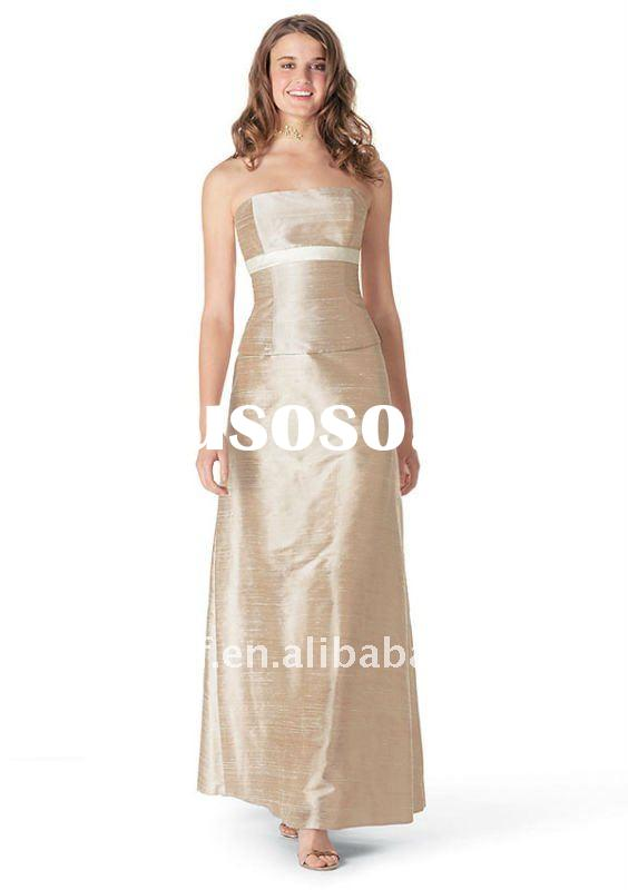 elegant off-shoulder satin zipper back floor-length bridesmaid dress wedding dress