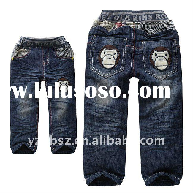 fashion cotton warm straight fit boys jeans for winter-N003