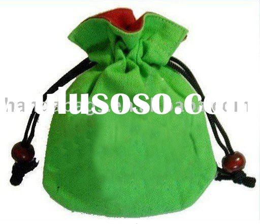 green cotton fabric drawstring bags