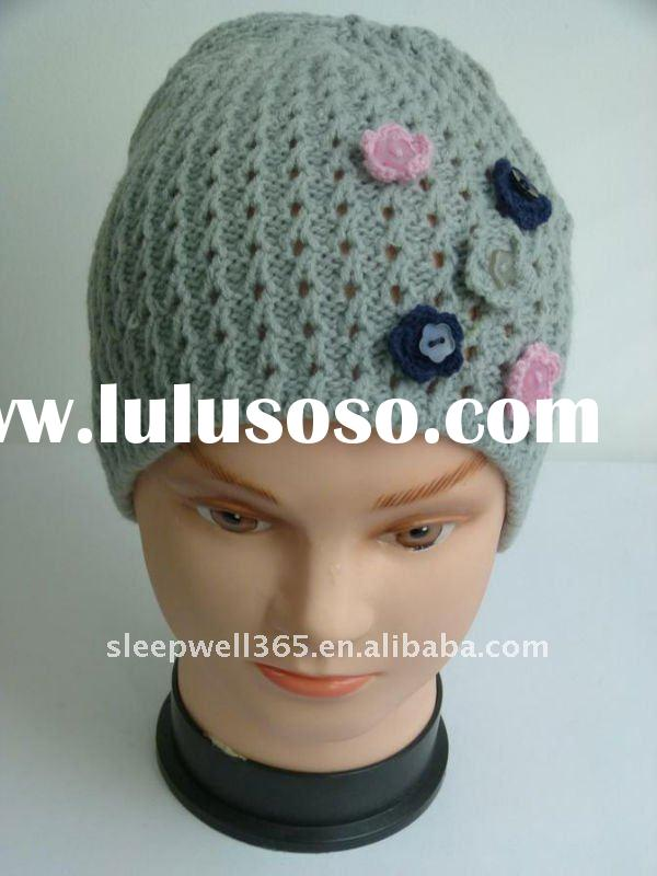 ladies fashion knitted hat pattern with decoration flowers