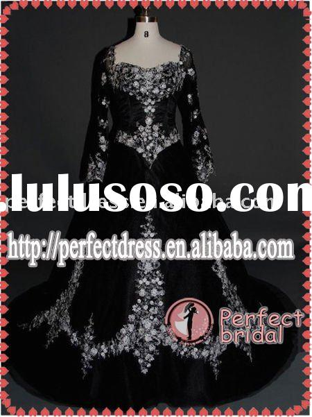 ladies fashion long sleeve black arabic bridal dress