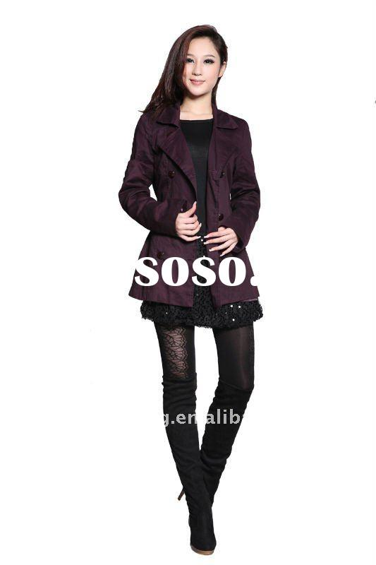 lady fashion cotton coat with self fabric belt new design 2012