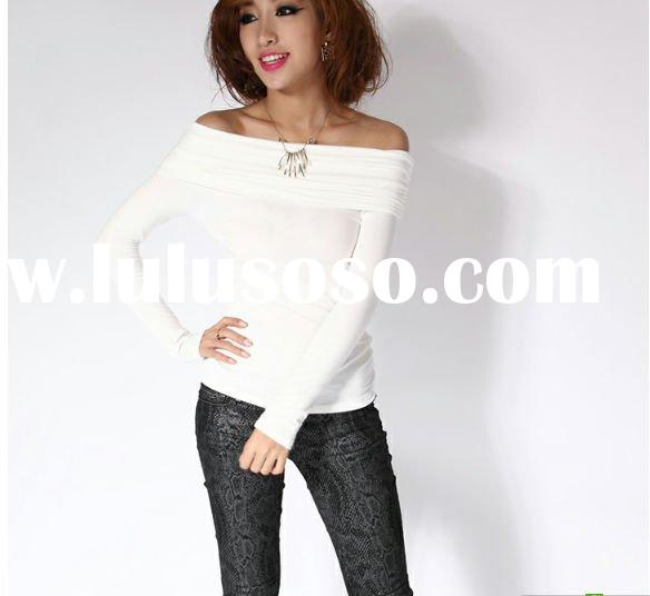 lady fashion off shoulder long sleeve T-shirt