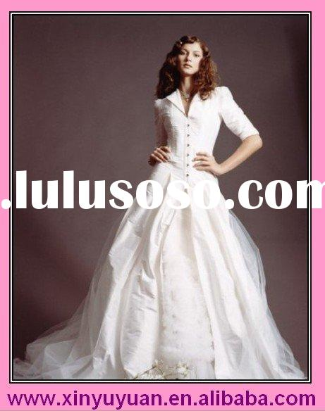 latest model winter wedding dress with long sleeve ly153