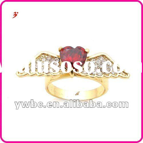 low price nickle free gold plated ally red heart zircon angel rings jewelry (R100280)