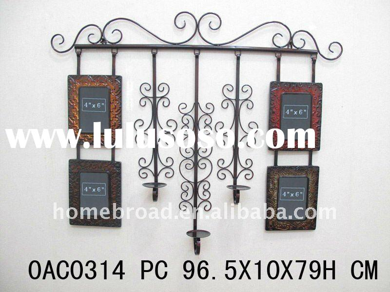 metal wall hanging photo frame with candle holders