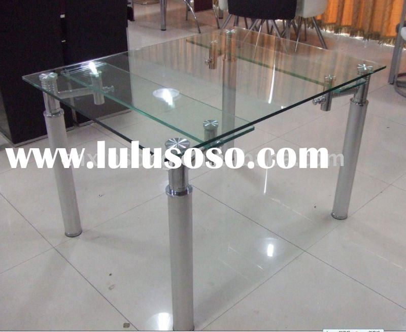 modern extension tempered top glass and chromed metal dining room table
