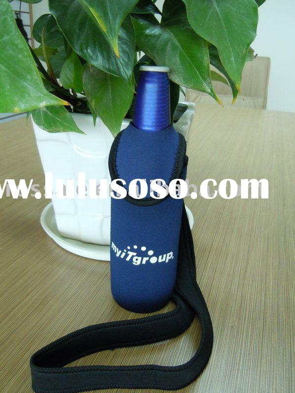 neoprene drink cooler with a neck strap and bottle opener