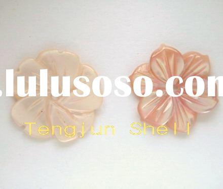 pink shell mother of pearl carved flower pendant