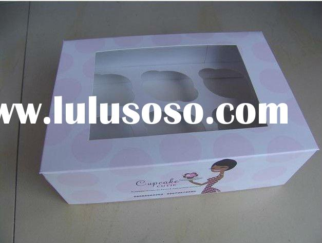 printed art paper custom cupcake boxes with pvc window and insert