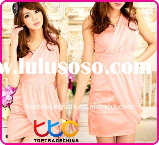 satin and chiffon, one shoulder party dresses for women S10288-2 pink