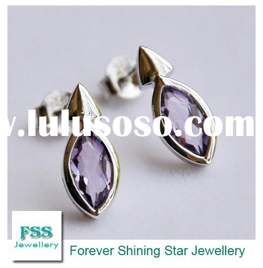 sterling silver jewelry / amethyst earring