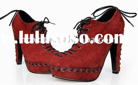 stylish brand shoes lady red ankle boots real suede leather