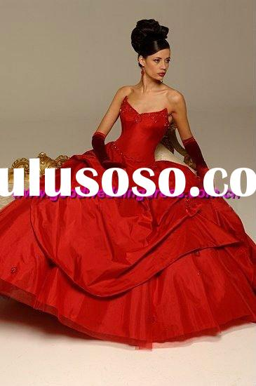 wholesale New style strapless satin&tulle ball gown red wedding dresses 2011