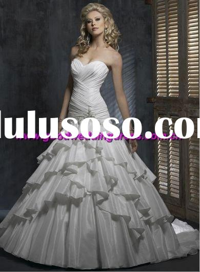 wholesale new style strapless organza beaded white mermaid wedding dresses