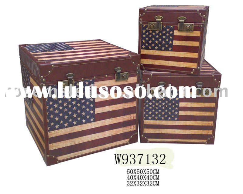 wooden trunk or wood box of American flag in the home decoration