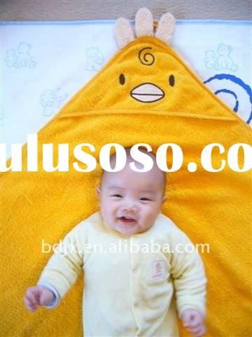 100% cotton chicken embroidered yellow hooded baby towel