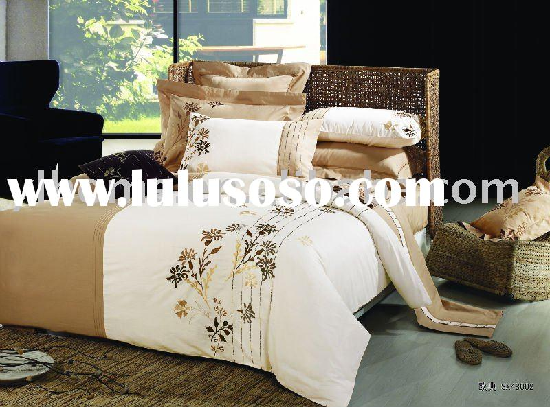 100% cotton embroidery design bed sheet hand embroidery duvet cover bedding set
