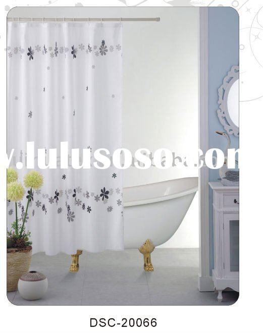 100% polyester flower printed shower curtain with 12 eyelet and 12 hooks for bathroom set