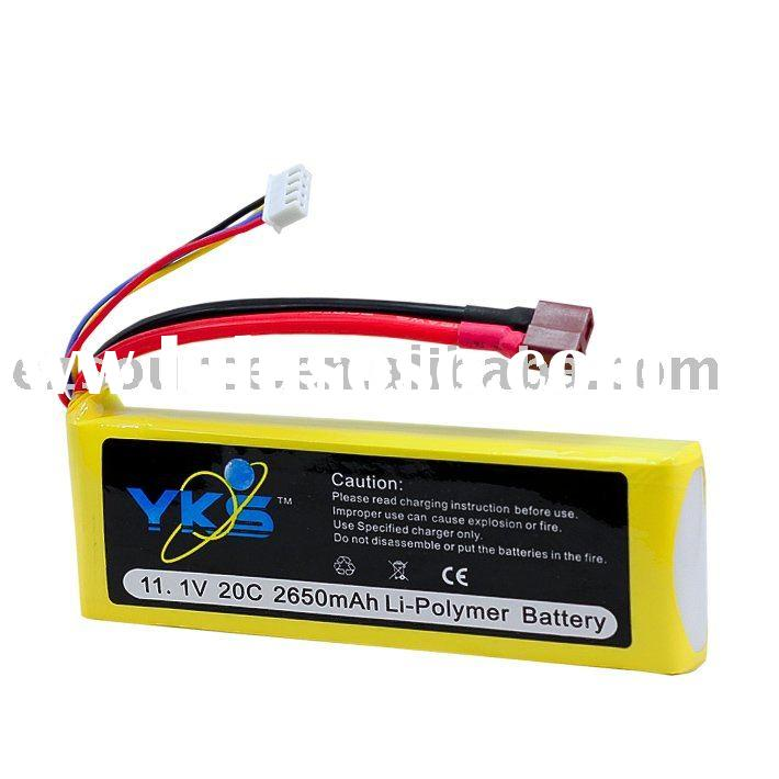 11.1v 2650mAh 20c rc high rate lipo battery for Trex 450 rc helicopter