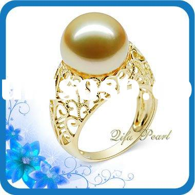 18K Gold Jewelry with Golden Southsea Pearl