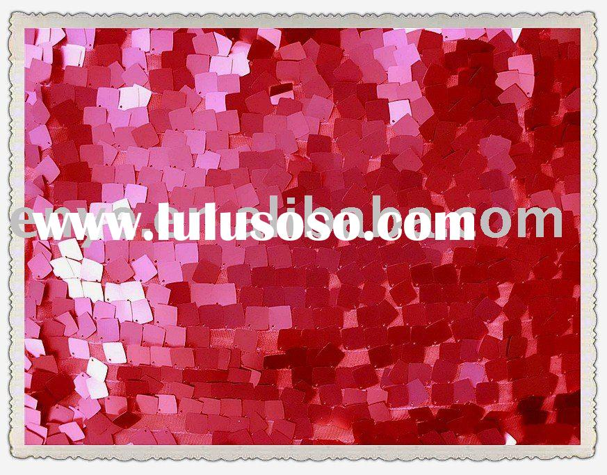 18mm red sequin square dress embroidery fabric